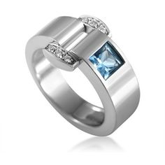 Pre-owned Piaget Miss Protocole 18K White Gold Diamond & Topaz Ring ($1,350) ❤ liked on Polyvore featuring jewelry, rings, buckle ring, diamond jewelry, white gold topaz ring, pre owned diamond rings and white gold rings