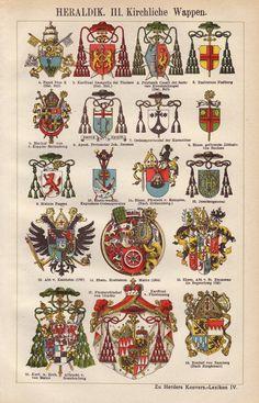Kirchliche Wappen original 1922 Heraldik print  heraldischen