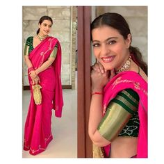 Kajol and Rani Mukherji Turn Up In The Best Shades Of Pink Sarees For Durga Puja - HungryBoo Saree Blouse Neck Designs, Fancy Blouse Designs, Saree Blouse Patterns, Saris, Durga Puja, Sari Rose, Sarees For Girls, Divas, Indiana
