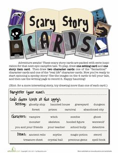Worksheets: Scary Story Card Game