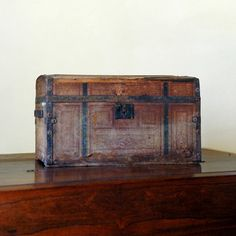 Antique Wood Trunk // Traveler by 86home on Etsy, $175.00