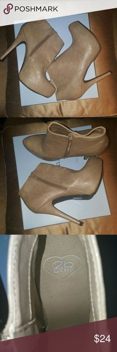 Tan Ankle boots Trendy Bebe ankle boots. Worn once! bebe Shoes Ankle Boots & Booties