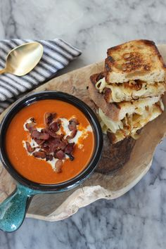 Roasted Garlic & Caramelized Onion Grilled Cheese with Creamy Tomato Soup - This is no ordinary grilled cheese and tomato soup recipe.