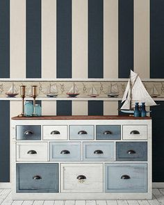Awning Navy Stripe Wallpaper from the Seaside Living Collection by Brewster Home Fashions Nautical Theme Bedrooms, Seaside Bedroom, Seaside Decor, Coastal Bedrooms, Coastal Living Rooms, Beach House Decor, Nautical Theme Bathroom, Nautical Bathroom Design Ideas, Chic Beach House
