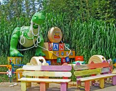 Toy Story Land in Disneyland. In here, you're just as big as the toys