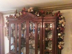 My Parents have this same cabinetry thing! Christmas China, Christmas And New Year, Winter Christmas, All Things Christmas, Merry Christmas, Christmas Decorations For The Home, Holiday Decorating, Decorating Ideas, Decor Crafts
