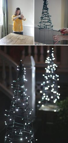 Christmas tree using tomato cage and string lights: