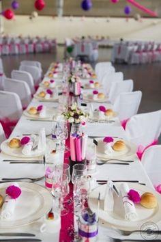 Centre de table violet vieux rose aquarium ruban et feuilles deco table - Centre de table rectangulaire mariage ...