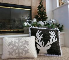Snowflake and reindeer appliques on sweater fabric repurposed - great idea!