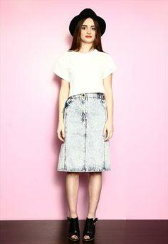 Vintage 80's Mid Blue Acid Wash Pocketed Denim Skirt