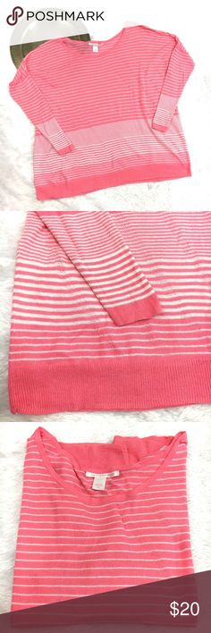 Victoria's Secret Knit Pink White Striped Shirt Excellent used condition lightweight knit long dolman sleeve shirt. Victoria's Secret Tops Tees - Long Sleeve