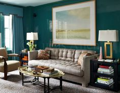 Miles Redd Leopard Carpet | A Touch of Leopard | McGrath II Blog teal lacquer walls cornice