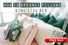I have been wanting to do a post all about pillow arranging on beds. There are a bunch of different configurations you could do! But this one is my favorite for a king size bed. I also want to mention that buying full pillows can make all the difference t Euro Pillows, King Size Pillows, King Size Bedding, Bedding Sets, Decorative Bed Pillows, Sofa Pillows, Home Bedroom, Bedroom Furniture, Master Bedroom