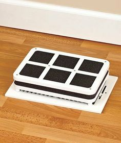 """Set of 2 Portable Heating Vent Register Humidifiers by ABC. $25.00. Just add water to the spongy foam insert and put the portable humidifier over a floor register vent or near a baseboard heater.. Heat-resistant plastic housing (10"""" x 7"""" x 1-3/4"""", each) fits most registers.. mproves breathing comfort for your nose and throat, prevents dried out furniture and reduces static electricity.. As heated air rises from your furnace vent, it draws moisture from the humidifier a..."""