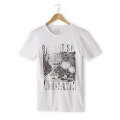 T-shirt estampada, gola redonda Soft Grey | La Redoute
