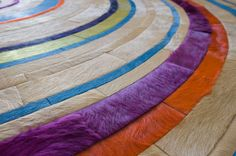 Custom Rug shown in cone, ivory, magenta,  pistachio, pool, turquoise and violet Cow Skin Rug, Custom Rugs, Cow Hide Rug, Pistachio, Magenta, Ivory, Goals, Turquoise, Contemporary