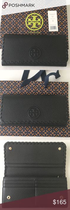 NWT Marion Envelope Continental Wallet NWT Marion Envelope Continental Wallet in pebbled black leather. Tory Burch Bags Wallets