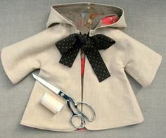 Sewing Pattern and Tutorial for Hooded Coat for 18-20 Doll. $9.95, via Etsy.