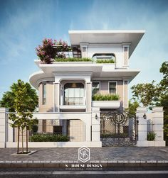Image may contain: outdoor, tree and house Best Modern House Design, Modern Villa Design, Classic House Design, Modern Exterior House Designs, Bungalow House Design, Cool House Designs, Modern House Facades, Modern Bungalow House, Bungalow Exterior