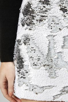 Brushed sequin skirt with distressed texture effect; fabric embellishment; textiles; fashion design detail // Topshop