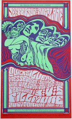 February 3-5 1967 Artist Wes Wilson. Jefferson Airplane, Quicksilver Messenger Servive, Dino Valenti at Fillmore Auditorium, SF © 1967 Bill Graham © Wes Wilson