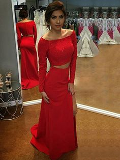 Prom Dresses Elegant, 2020 Cheap Sheath Long Sleeves Red Side Slit Two Pieces Off Shoulder Prom Dress, Mermaid prom dresses, two piece prom gowns, sequin prom dresses & you name it - our 2020 prom collection has everything you need! Long Tight Prom Dresses, Modest Prom Gowns, Cheap Formal Dresses, Sparkly Prom Dresses, Junior Prom Dresses, Simple Prom Dress, Unique Prom Dresses, Long Prom Gowns, Ball Gowns Prom