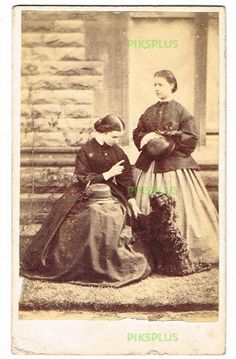 OLD CDV PHOTOGRAPH YOUNG LADIES WITH PET DOG ANTIQUE / VINTAGE FASHION 1860S in Collectables, Photographic Images, Antique (Pre-1940) | eBay