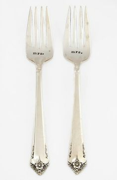 Milk and Honey Luxuries 'Mrs. & Mrs.' Vintage Wedding Forks (Set of 2) available at #Nordstrom