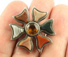 Superb Antique Victorian c 1890 silver Scottish agate citrine brooch pin