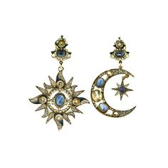 DIEGO PERCOSSI PAPI - NORTH STAR AND CRESCENT MOON EARRINGS ($1,010) ❤ liked on Polyvore featuring jewelry, earrings, accessories, jewels, pearl earrings, star earrings, diego percossi papi, pearl jewelry and pearl jewellery