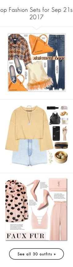 """""""Top Fashion Sets for Sep 21st, 2017"""" by polyvore ❤ liked on Polyvore featuring Citizens of Humanity, Sonia Rykiel, Balenciaga, Prada, statementbags, River Island, adidas Originals, Pier 1 Imports, Puma and HAY"""