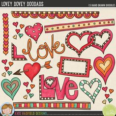 Valentine's Day digital scrapbooking elements | Cute love clip art | Hand-drawn doodles for digital scrapbooking, crafting and teaching resources from Kate Hadfield Designs! Lovey-Dovey Doodads.