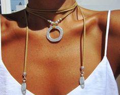 Envuelva el collar, collar anillo, joyas Boho, joyas de Bohemia, joyería hippie, Bohemia collares, collares boho, joyería minimalista