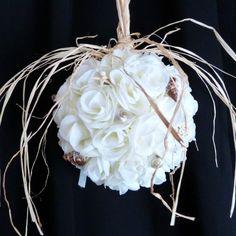 Sea Shells & Roses Pomander/ alternative Bridal Bouquet in Cream/ Off White - starfish, pearls - Beach Destination Wedding. $45.00, via Etsy.