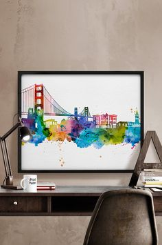 San Francisco skyline watercolor San Francisco Art от iPrintPoster
