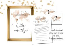 Where Were They Bridal Shower Game Printable Couples Photo | Etsy Bridal Shower Activities, Printable Bridal Shower Games, Wedding Shower Games, Travel Bridal Showers, Gold Bridal Showers, Engagement Party Games, Lingerie Shower Invitations, Bachelorette Themes, Bridal Shower Photos