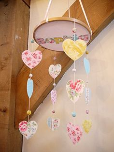 Handmade Nursery Personalized girl's fabric Heart Mobile. *** Learn more by…