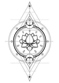 Lotus and Sacred Geometry. Ayurveda symbol of harmony and balance, and universe. Boho print, poster, t-shirt textile. Swear Word Coloring Book, Coloring Books, Coloring Pages, Adult Coloring, Ayurveda, Unalome, Street Design, Harmony Symbol, Tattoo Sketches