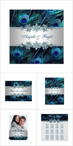 Elegant Blue Peacock Wedding Peacock wedding invitation collection features stunning royal blue, teal blue and purple peacock feather background with beautiful silver and blue jewel accents. This popular peacock wedding invitation design is available in various sizes and shapes