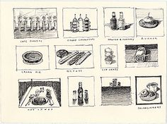 Citation: Café Flowers, Caged Condiments, Orange and Cherry, Burger, Cream Pie, Breads, Cupcakes, Hot Cakes, Java and Sinkers, ca. 1995. Wayne Thiebaud papers, Archives of American Art, Smithsonian Institution.