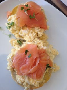 Smoked salmon and scrambled eggs on muffin at Handley's Deli, Ashtead Village