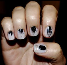 A spattered manicure inspired by artist Beatrice Boyle.