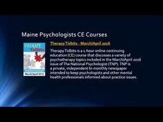 Maine Psychologists Continuing Education Requirements - YouTube