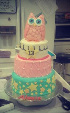 Owl cake Birthday Cake Girls, Birthday Cakes, Owl Desserts, Cake Stuff, Cake Ideas, Owls, Ava, Amber, Goodies
