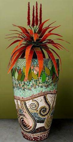 Mosaic vase, swirly and straight, balanced