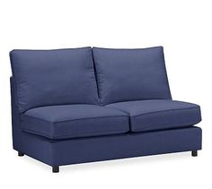 PB Comfort Upholstered Armless Love Seat, Box Edge Polyester Wrapped Cushions, Linen Blend Peacoat Navy