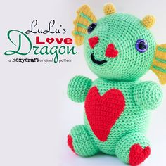 Lulu's Love Dragon Pattern Pdf NOW AVAILABLE!!! $3  #roxycraft #amigurumi #crochet #dragon