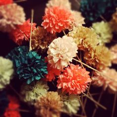 Custom Colors ... 6 tissue paper pom flowers //  beach wedding // birthday party // rehearsal dinner // party decorations