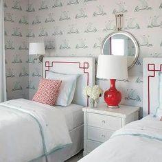 Liz Carroll Interiors - girl's rooms - shared kids room, shared kids bedroom, shared girls room, shared girls bedroom, katie ridder wallpape...