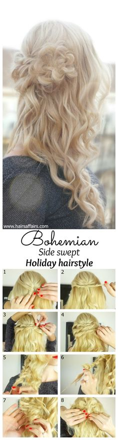 Bohemian side swept holiday hairstyle tutorial at https://hairsaffairs.com/bohemian-side-swept-holiday-hairstyle/